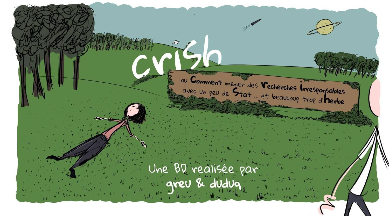 Image d'accueil du webcomic Crish. Nicole regarde le ciel, alongée sur l'herbe pendant qu'Alex sort de l'écran